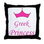 Greek Princess with Crown Throw Pillow