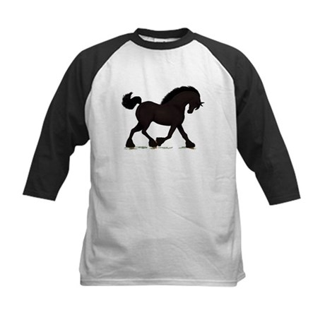 Friesian Black Horse Kids Baseball Jersey