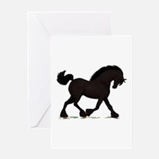 Friesian Black Horse Greeting Card