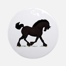 Friesian Black Horse Ornament (Round)