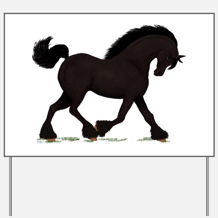 Friesian Black Horse Yard Sign