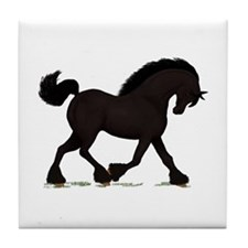 Friesian Black Horse Tile Coaster