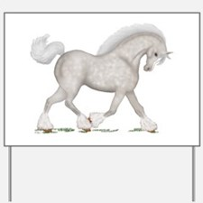 Gray Clydesdale Horse Yard Sign