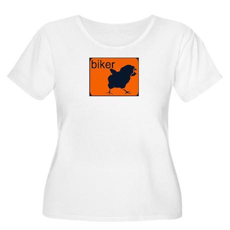 BIKER CHICK Women's Plus Size Scoop Neck T-Shirt