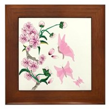 Cherry Blossoms with Pink But Framed Tile