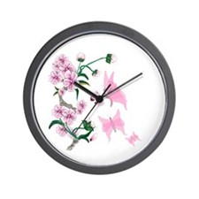 Cherry Blossoms with Pink But Wall Clock