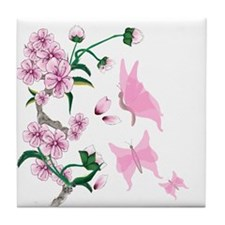 Cherry Blossoms with Pink But Tile Coaster