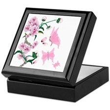 Cherry Blossoms with Pink But Keepsake Box