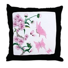 Cherry Blossoms with Pink But Throw Pillow