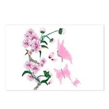 Cherry Blossoms with Pink But Postcards (Package o