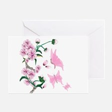 Cherry Blossoms with Pink But Greeting Card