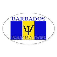 Barbados Flag Oval Decal