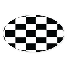 Checkered Flag Black/White Euro Oval Decal