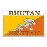 Bhutan Flag Rectangle Sticker