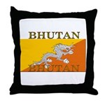 Bhutan Flag Throw Pillow