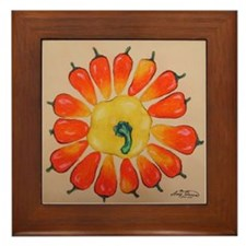 Hot Pepper Sunflower Framed Tile
