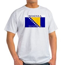 Bosnia Bosnian Herzegovina Flag Ash Grey T-Shirt