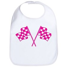Pink Checkered Flags Bib