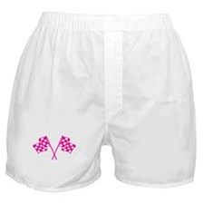 Pink Checkered Flags Boxer Shorts