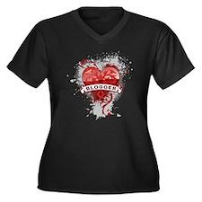 Heart Blogger Women's Plus Size V-Neck Dark T-Shir
