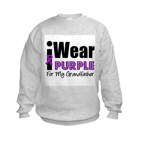 Purple Ribbon Grandfather Kids Sweatshirt