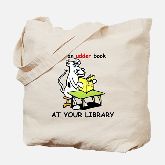 cartoon library cow Tote Bag