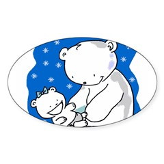 Polar Bears Oval Sticker