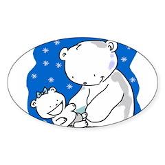 Polar Bears Oval Decal