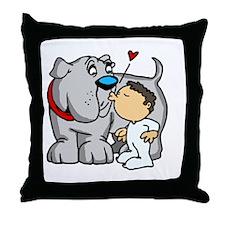 Bulldog Kiss Throw Pillow