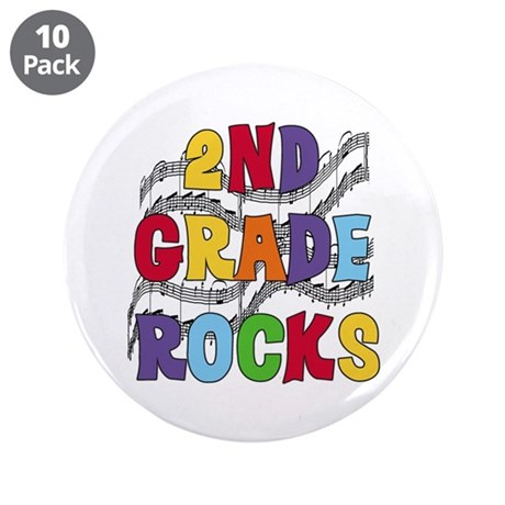 """Bright Colors 2nd Grade 3.5"""" Button (10 pack)"""