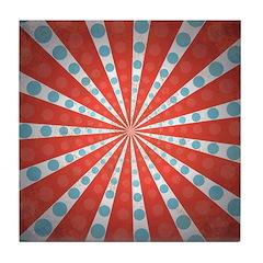 Red Blue Striped Patriotic Tile Drink Coaster