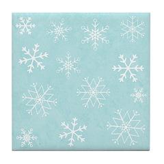 Contemporary Snowflake Tile Drink Coaster
