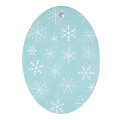 Contemporary Snowflake Oval Ornament