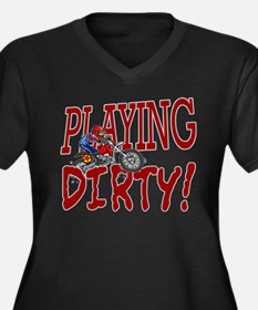 Playing Dirty Dirt Bike Women's Plus Size V-Neck D