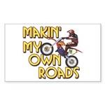 Own Roads - Dirt Bike Rectangle Sticker