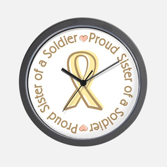 Proud Soldier Sister Yellow Ribbon Wall Clock