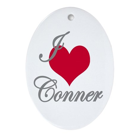 I love (heart) Conner Oval Ornament