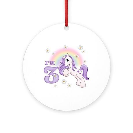 Pretty Pony 3rd Birthday Ornament (Round)