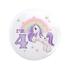 "Pretty Pony 4th Birthday 3.5"" Button"
