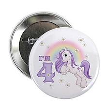 "Pretty Pony 4th Birthday 2.25"" Button"