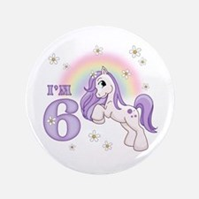 "Pretty Pony 6th Birthday 3.5"" Button"
