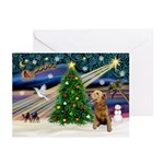XmasSunrise/2 Airedales Greeting Cards (Pk of 10)