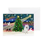 XmasMagic-American Eskimo Dog Greeting Card