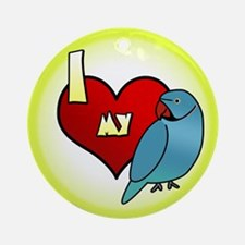 Love Blue Indian Ringneck Ornament (Round)