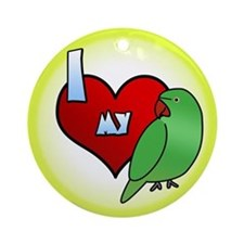 Love Hen Indian Ringneck Ornament (Round)