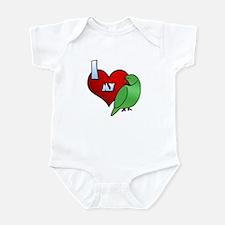 I Love My Indian Ringneck Parakeet Baby Bodysuit