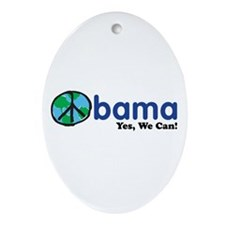 Obama Yes We Can Oval Ornament