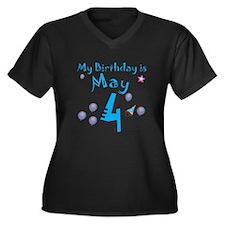 May 4th Birthday Women's Plus Size V-Neck Dark T-S