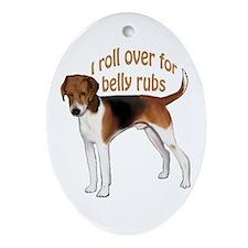 American foxhound belly rub Oval Ornament
