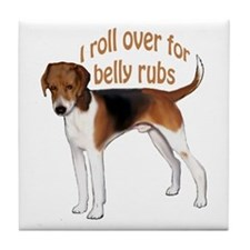 American foxhound belly rub Tile Coaster